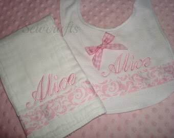 Alice Personalized Bib and Burp Set - Name or up to 3 initials
