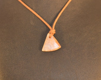 Triangle polished stone on 30 inch cord