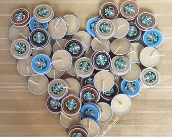 Bulk Coffee Party Favors Unpackaged Starbucks Soy Candle Tea Lights in 25, 50, 75, 100 Pieces DIY Party Favor Candles Coffee Theme Gift
