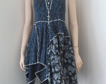 Lagenlook Tunic Dress French Boho Chic Navy Floral Print Cotton Stretch Knit Silk Flowing Size S - M