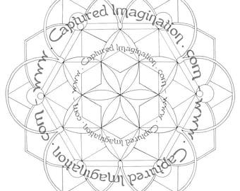 DIY Coloring Page - Mandala Starter No. 5 - Instant Download