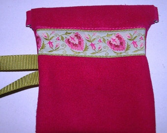Fuschia Suede LEATHER Sunglass Pouch w/Embroidered Trim