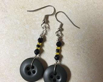 Army Beaded Button Earrings