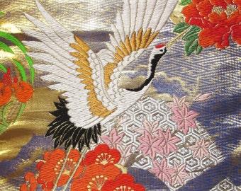 Vintage Japanese Uchikake Wedding Kimono Silk Fabric Panel Flying Crane, Blossom Flowers and Shiny Silver Gold Geometric Patterns