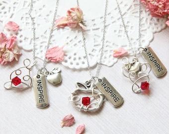 Teacher Necklace, Apple Necklace, Inspire Necklace, Teacher appreciation, Teacher Gift, Teacher Jewelry, Gift for teacher