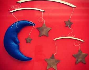 The Man In the Moon Mobile - Midnight Blue Moon with Gold Stars - Baby Mobile - Handmade Mobile - Nursery Mobile - Moon & Stars Mobile