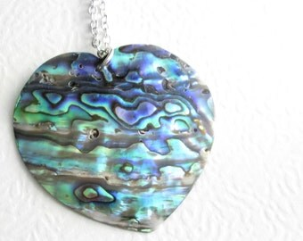 Large Abalone Heart Pendant: Rainbow Sea Shell Necklace, Green Beach Jewelry
