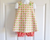 REVERSIBLE Cross-Back Pinafore Top and Bloomers Set baby or toddler - 3 mos to size 5 - Stella in Pink - Up Parasol Collection