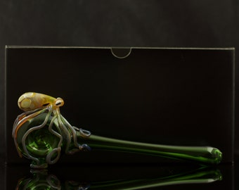 Octopus Large X-Long Glass Spoon Pipe Hand Blown Thick Wall in Emerald Green & Amber Purple, Ready to Ship #245