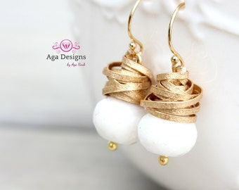 Amelia Earrings in white - New Silverite stone and gold textured wire