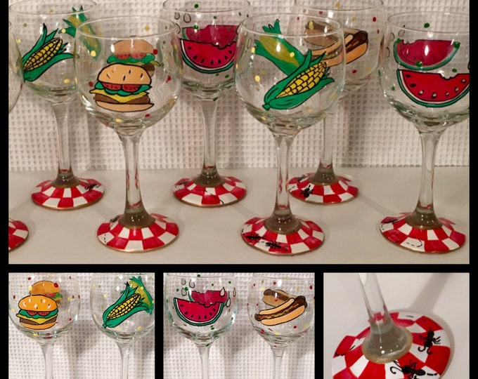 Painted wine glass, barbecue picnic wine glass, custom painted wine glass, hamburger, hotdog, watermelon, corn on the cob