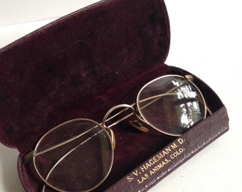 Vintage Pair of Gold Wire Frame Glasses in Original Case