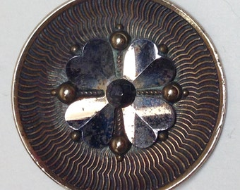 Large Brass Button with Silver Four Leaf Clover