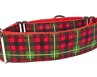 "Martingale Dog Collar Christmas PLAID holiday print on red webbing 1.5"" wide, unlined, safety collar, made to order"