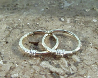 Hoop Earrings Gold Hammered & Wrapped Silver Endless - Tiny Hoop Earrings, Gold Hoop Earrings, Tragus Hoop, Helix Hoop, Cartilage Hoop