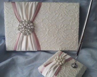 Ivory Lace Rose Pink Wedding Guest Book and Pen Set Ivory Bridal Lace Pearl Rhinestone Accent Unique Latte