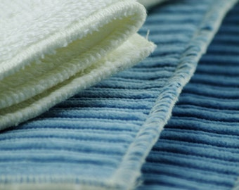 Medium Cloth Cotton Menstrual Pad set - 2 piece set - Blue/White