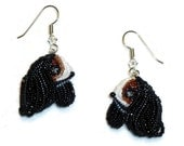 Cavalier KING CHARLES SPANIEL beaded dog art sterling silver drop earrings (Made to Order) Free Usa Shipping