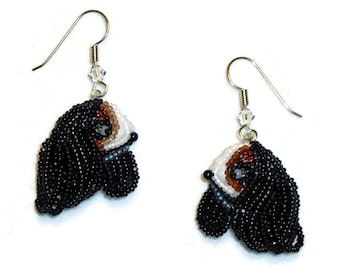Cavalier KING CHARLES SPANIEL beaded dog art sterling silver drop earrings (Made to Order)