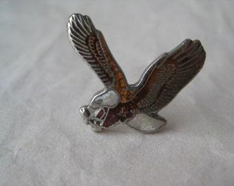 Bald Eagle Lapel Pin Brooch Vintage Brown Silver Enamel Bird