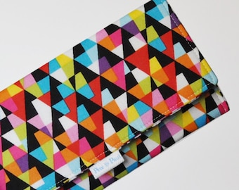 WOMEN'S WALLET /// Geometric Wallet, Triangles, Triangle Wallet, Colorful Wallet, Geometric, Geo, Triangle, Neon