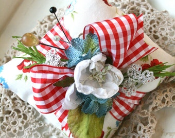 cottage chic pincushion-sewing room decor