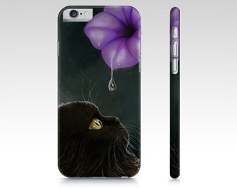 Cat Cell Phone Case Cat 514 Black Persian Flower - Iphone 7, 6/6s, Plus, 5/5s, Samsung Galaxy S5, S4, S3 art by L.Dumas