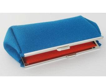 Teal Blue Felt Clutch Purse - Nickel Purse Frame - Neutral Modern Minimal - Ready to Ship