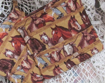 Pot Holders Set of Two  / Trivets, Western Horse Fabric