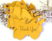 25 Gift Tags, Butterflies in Golden Yellow, Thank You, Hang Tags, Party Favor Tags