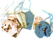 20 Gift Tags, Teal Green White Gold, 2 Sizes and Shapes, Hang Tags, Party Favor Tags