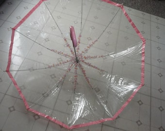 1970s vintage clear vinyl umbrella with pink flowers and trim