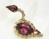 Rhinestone Swan Brooch Vintage Purple Bird Jewelry B7042
