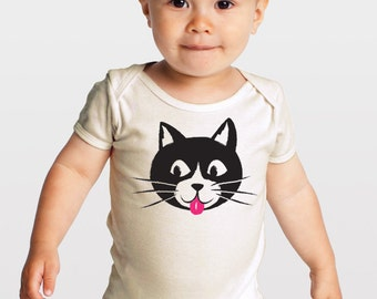 Kitty Cat with a Pink Tongue — Organic Cotton Baby One-piece