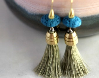 Tassel Earrings, Sage Green Silk Tassel Dangles with Turquoise Blue Cinnabar and Gold Brass