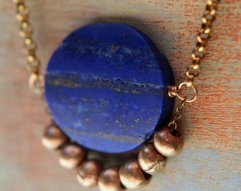 Lapis Lazuli Necklace  Blue Lapis Disc  Raw Gold Brass Tribal Trade Beads  Persian, Asian, Egyptian Influence  Gift Box
