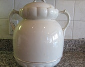 Large old white ironstone slop jar/bucket with lid and side handles- gold trim- nice