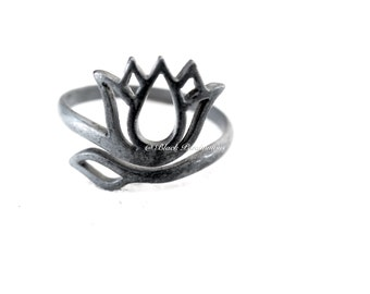 Hand Oxidized Lotus Adjustable Ring -Patina Solid 925 Sterling Silver Feng Shui Lian Hua - Insurance Included