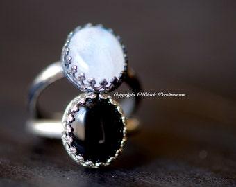 1 LEFT - Tove Rainbow Moonstone Ring - Oval Genuine Auspicious Feng Shui Intelligence Symbol Gemstone - Solid 925 - Insurance Included