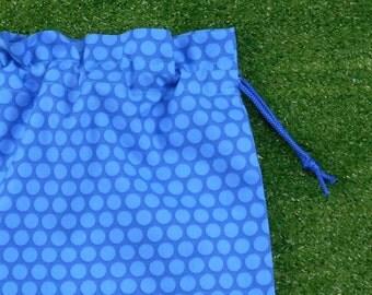 Blue spots small drawstring bag, small blue cotton toy bag, game piece bag