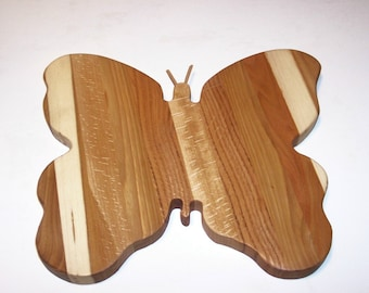Butterfly Cheese Cutting Board Handcrafted from Mixed Hardwoods