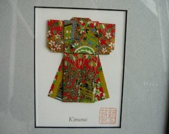 Vintage Origami Kimono, Origami, Chiyogami paper in red, green, gold, black and white in black frame