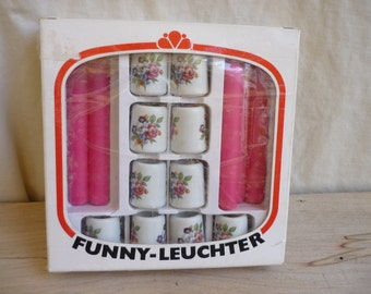 Funny Leuchter Set of 10 Small German candle holders, tiny white candlesticks,