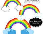 Rainbow & Clouds- Single  Digital Clipart Elements Commercial use Instant Download