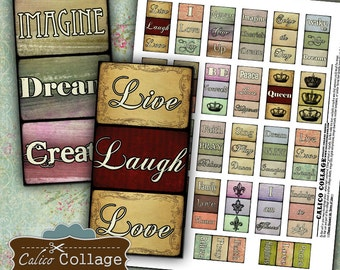 Inspirational Words Collage Sheet 1x2 Collage Sheet Printable Download for domino size pendants, magnets, paper goods, bezel settings