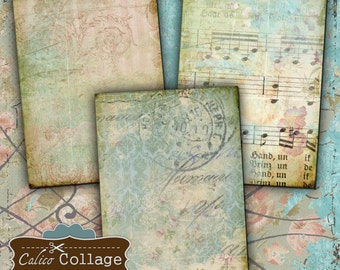 Faded Memories Digital Collage Sheet Printable Gift Tags Hang Tags Decoupage Paper 2.5x3.5 ATC Size Vintage Paper Ephemera Printable