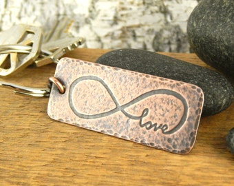 Infinity keychain, copper anniversary gift, engraved key chain, gifts for him, copper keychain with infinity symbol, 7th anniversary gift.