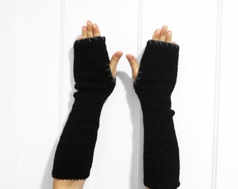 SALE Long Fingerless Gloves / Armwarmers [Black & Gray]