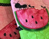 Quilted SUMMER Table Runner . . . WAYERMELON and ANTD . . . Applique Design . . . Fun Colora of Lime Green, Raspberry Pink and Black