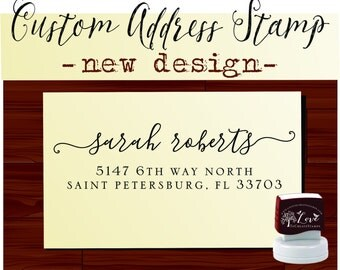 Calligraphy Handwriting Script Custom Return Address Stamp - Personalized SELF INKING Something Blue Wedding Stationery Stamp - Style 130